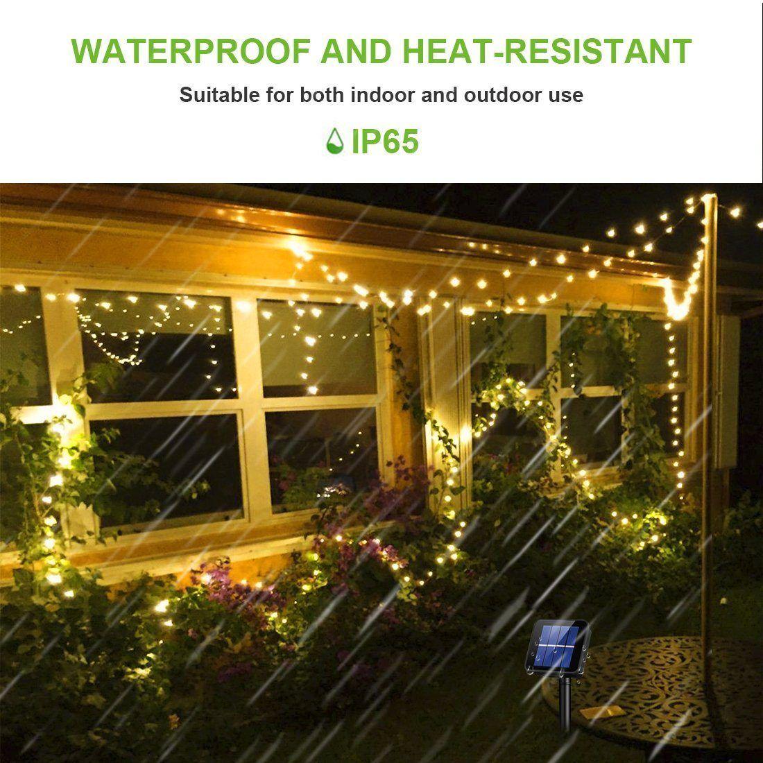 Rophie guirlande lumineuse solaire 22m,200 guirlande lumineuse LED Fil de Cuivre Lampe Étanche de Décoration Extérieur et Int