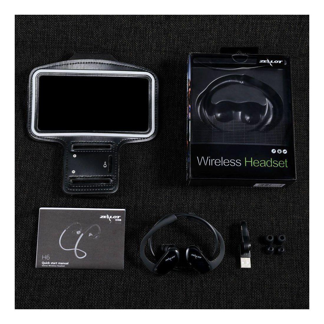 ZAELOT H6 Casque Intra-Auriculaire avec Brassard Sport pour Smartphone Écouteur Bluetooth Oreillette D'exercice Pliable Résis