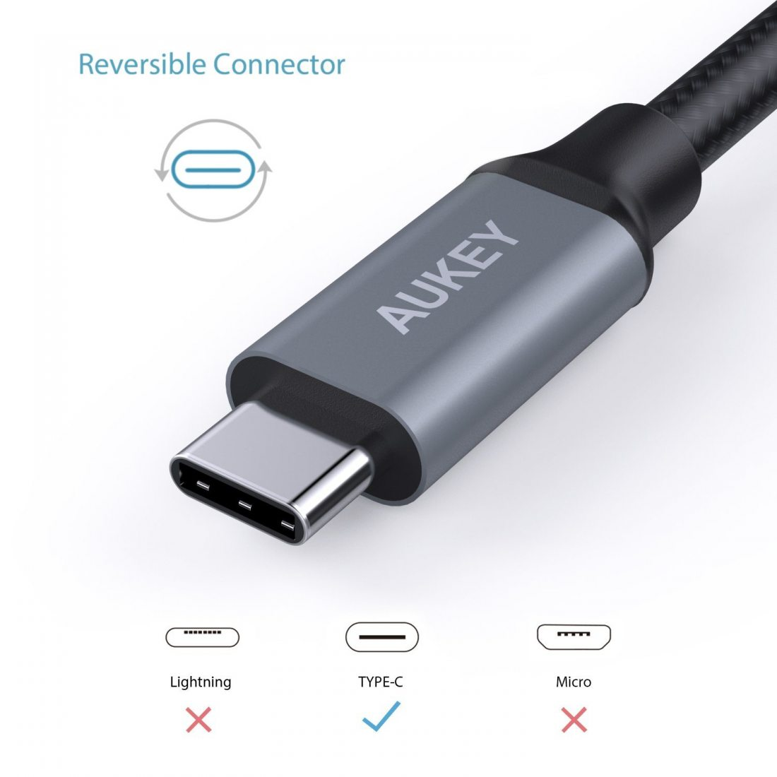 AUKEY Câble USB C à USB 3.0 A ( 3 x 1m ) en Nylon Recharge et Synchronisation Câble USB Type C pour Samsung Note 8 / S8 , HUA