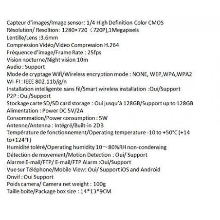 Tenvis JPT3815W Caméra de surveillance HD 1280x720p H264 IP Wifi sans fil - Application téléphone & Notice en français - Déte