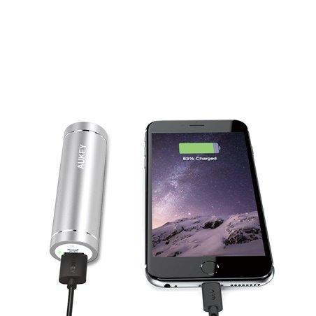 AUKEY Mini Batterie Externe 5000mAh avec 2 Ports USB (Sortie 5V/2A, Entrée 2A) pour iPhone, Samsung, etc., avec un 20cm Câble