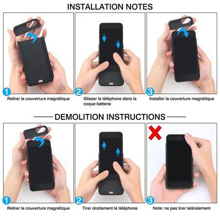 ICHECKEY iphone 6/6s/7/8 coque batterie rechargeable 2 en 1 multifonction support magnétique portable et couqe chargeur avec