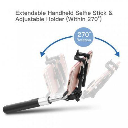 Perche de Selfie ,Coolreall® selfie stickextensible de poche Bâton de Selfie avec télécommande câble pour iPhone, Android S