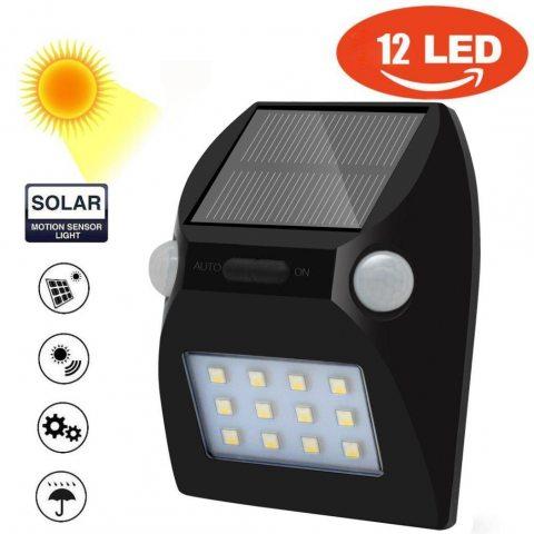 SOMESUN 12 LED Imperméabiliser Solaire Lampe de Mur PIR Capteur de Mouvement Sécurité Jardin Cour Clôture Facile à installer
