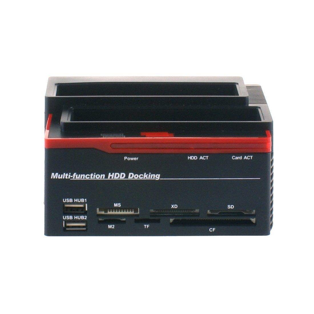 FUHAOXUAN CXD-892U2IS-FR USB 2.0 à SATA IDE Dual Slots Station d'Accueil Pour Disque Dur Externe avec Lecteur de Carte et 2 P