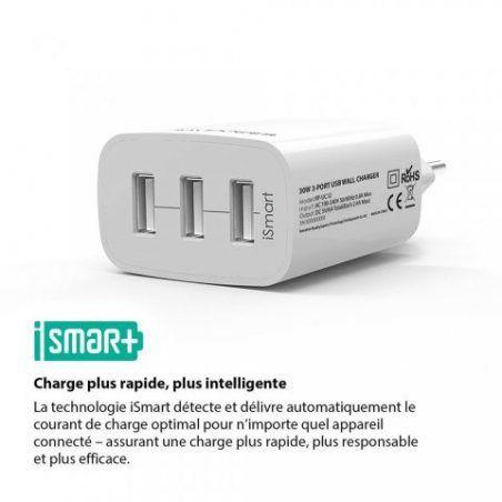 Chargeur USB Secteur 3 Ports Universel Secteur Mural RAVPower 30W / 5V 6A max avec Technologie de Charge iSmart, Adaptateur S