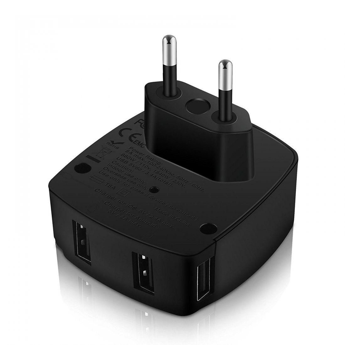 adaptateur voyage milool avec 4 usb adaptateur chargeur. Black Bedroom Furniture Sets. Home Design Ideas