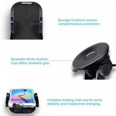 Support de téléphone de voiture, Mpow Grip Pro 2 pour pare-brise universel réglable avec gel collant pour iPhone 77Plus 6