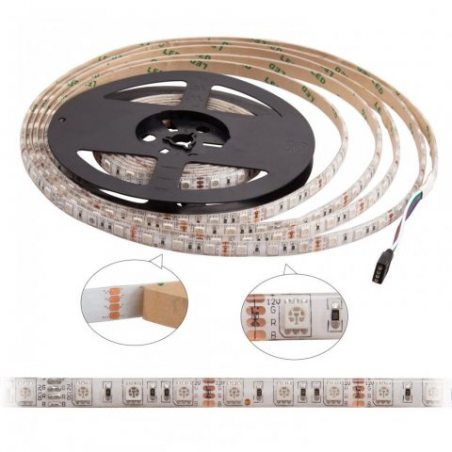SENDIS Ruban LED Etanche 5M 3528 RGB Multicolore SMD 300 LED Bande Flexible Lumineux Strip Light + Télécommande à infrarouge