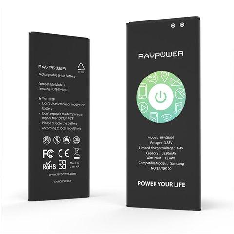 RAVPower Batterie de Samsung Galaxy Note 4 Batterie de remplacement 3220 mAh avec NFC (48 heures de veille, Jusqu'à 500 cycle