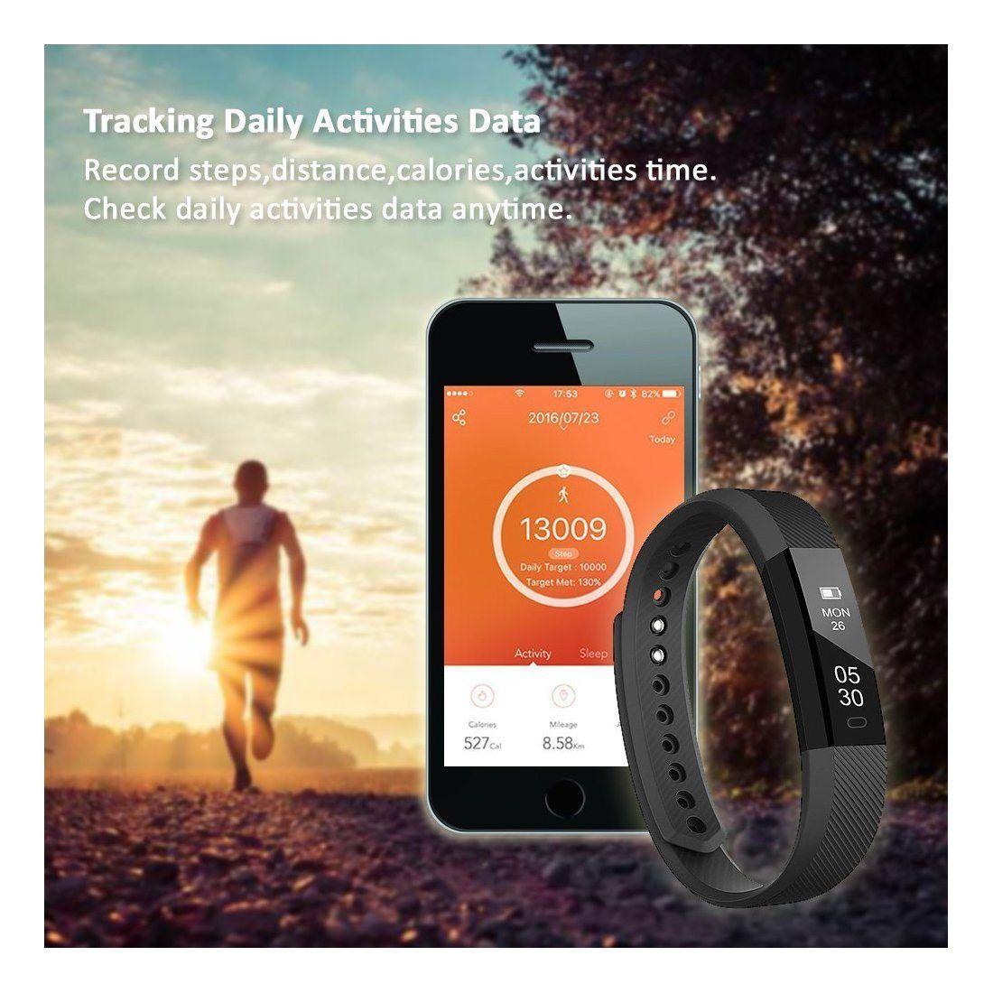 Tracker d'activité, LINTELEK Smart Bracelet Connecté Sport Fitness Tracker Podomètre Calories Sommeil Bracelet Avec Écran Tac