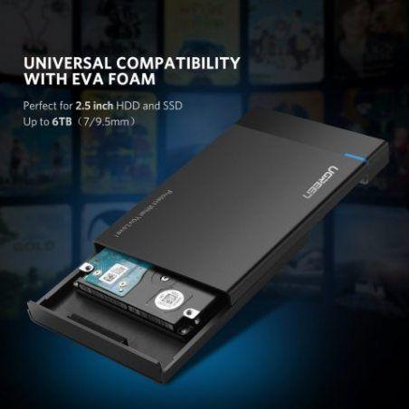 UGREEN USB 3.0 Boîtier Externe pour Disque Dur Externe 2.5'' SATA HDD SSD (7mm à 9,5mm) 6 To Maximale, Haute Vitesse à 5Gbps,
