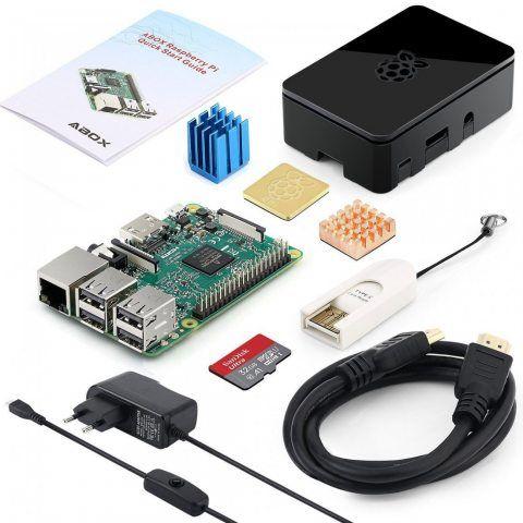 Globmall ABox Raspberry Pi 3 Modèle B Starter Kit avec Mirco Carte SD de 32 Go, Étui Noir Supérieur et 5V 2.5A Alimentation