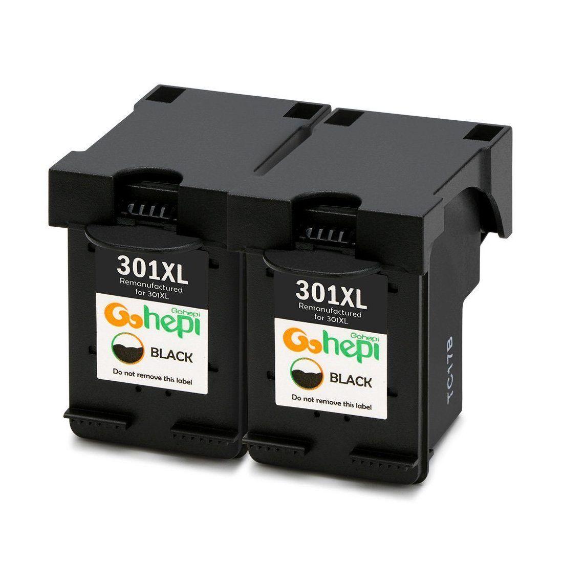 Gohepi 301XL Compatible pour Cartouches HP 301XL 301, Pack de 2 Noire Travailler avec HP Deskjet 2544 1010 2540 3050 1510 251