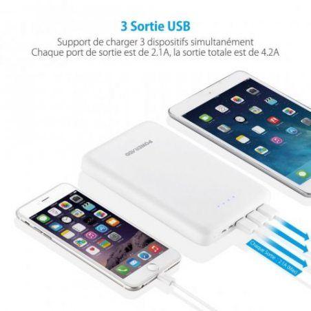Poweradd Pilot Pro 3 30,000mAh 3 Ports Sortie USB (sortie 4.2A) Chargeur USB Chargeur Batterie Portable de Secours Externe po