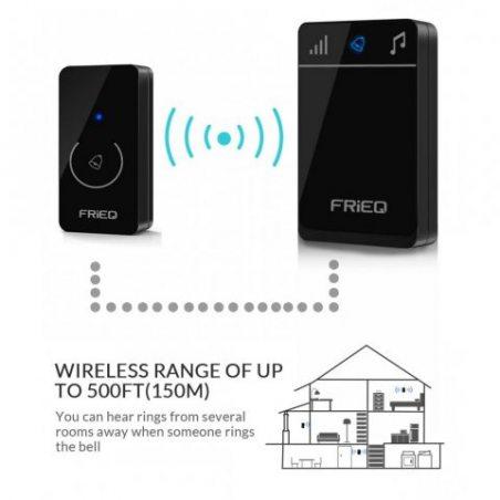FRiEQ portable sonnette sans fil étanche - Carillon de porte sans fil design haut de gamme avec la portée de 150 m, 52 mélodi
