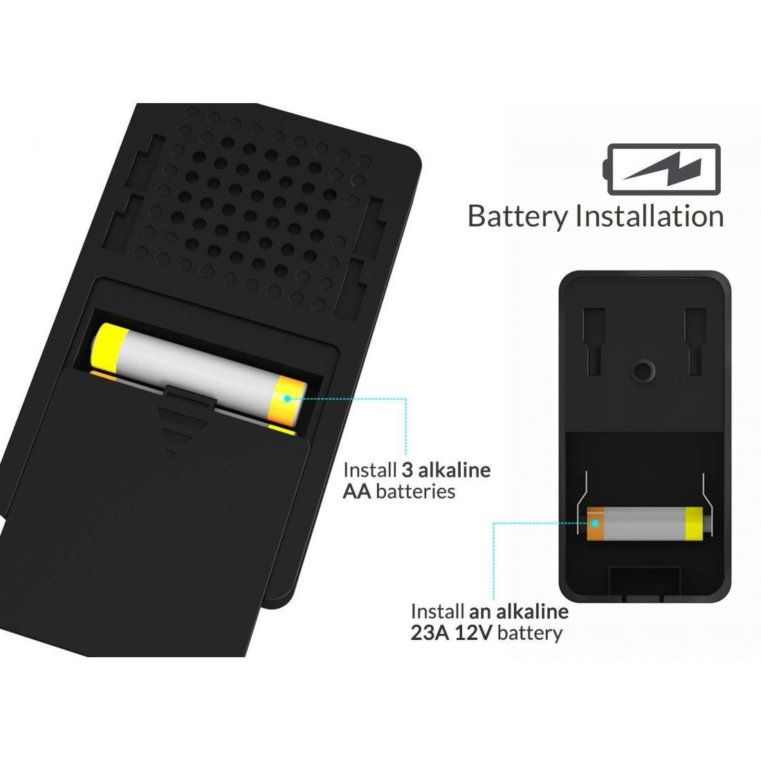 frieq portable sonnette sans fil tanche carillon de porte sans fil design haut de gamme avec. Black Bedroom Furniture Sets. Home Design Ideas