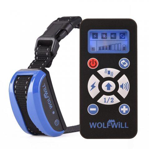 WOLFWILL Collier de Dressage Anti-aboiement Etanche Rechargeable pour Chien en Mode de Bip / Vibration, Automatique Ecran LCD