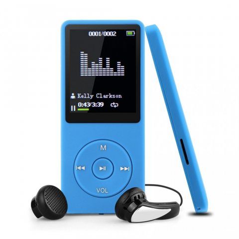 Swees Ultra-longue lecture de musique jusqu'à 70 heures Lecteur 8GB MP3 avec (soutien la carte mémoire de 64Go),Bleu