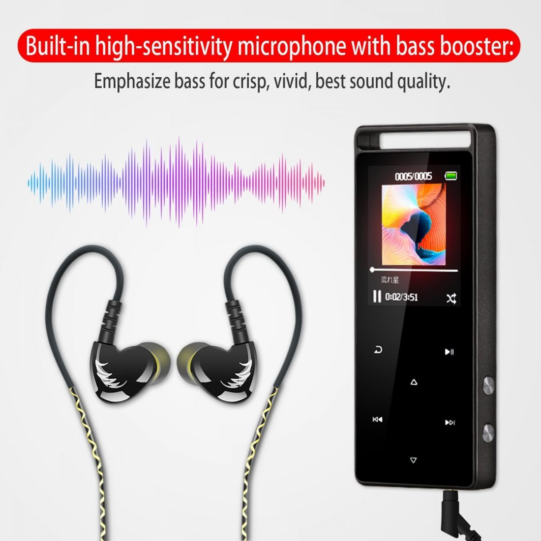 AGPTek Sport Ecouteurs Courir Gym Oreillette Wired In-ear Casque avec Microphone pour mp3, iPhone, Samsung, et les Téléphones
