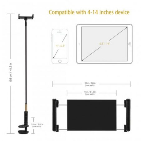 Support pour téléphone portable et tablette, foraco Flexible et Réglable Cou oie indolente métal support pour 4–14pouces T