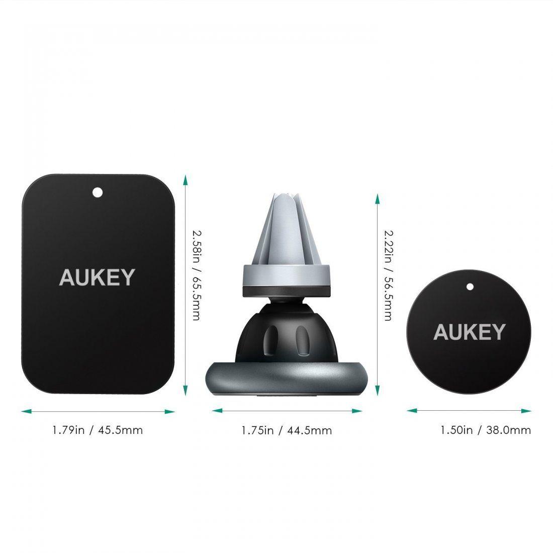 Aukey HD-C12 Support de Smartphone pour voiture pour iPhone 6/6S/Samsung Galaxy/Nexus/etc. Gris Sidéral