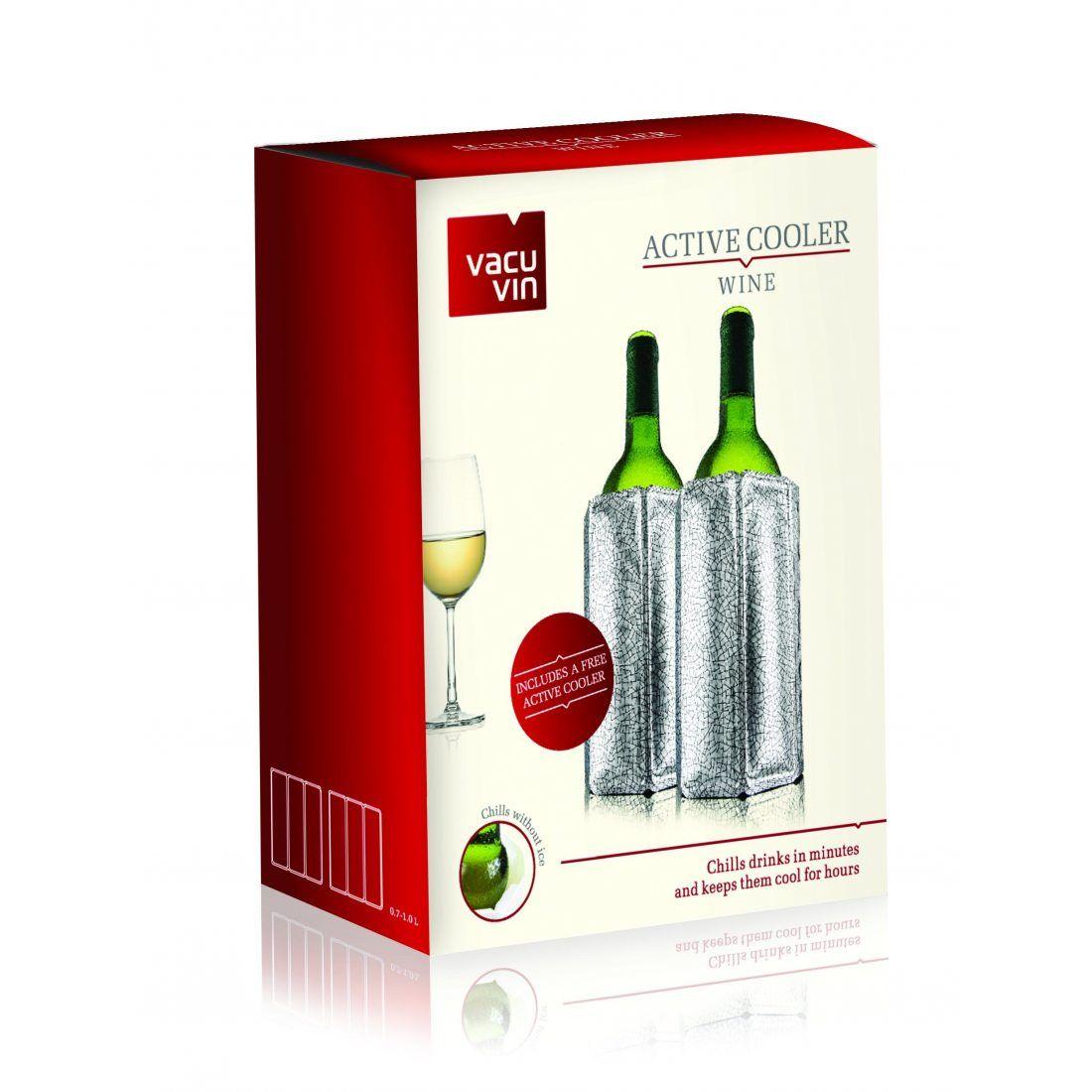 Vacu vin set 2 Rafraîchisseurs Flexibles Argent