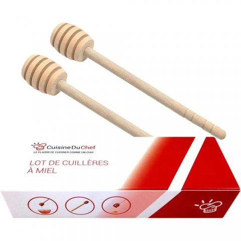 ✮ CuisineDuChef ✮ Cuillère à miel en bois naturel | Lot de 2 | Bâton à miel traditionnel élégant | Grande qualité, jolie et p
