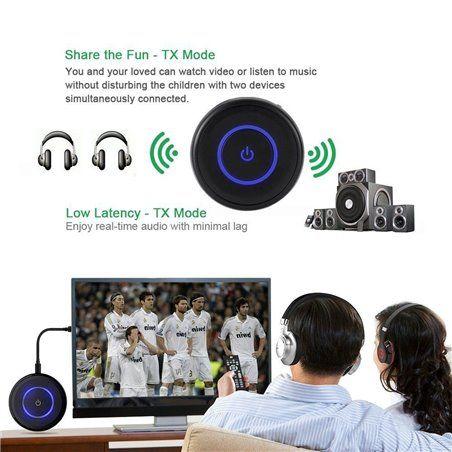 Giveet Bluetooth émetteur et récepteur avec prise jack 3.5mm, streaming audio sans fil adaptateur pour TV PS4Xbox pour ordi
