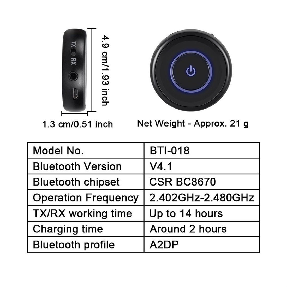 giveet bluetooth metteur et r cepteur avec prise jack 3 5 mm streaming audio sans fil. Black Bedroom Furniture Sets. Home Design Ideas
