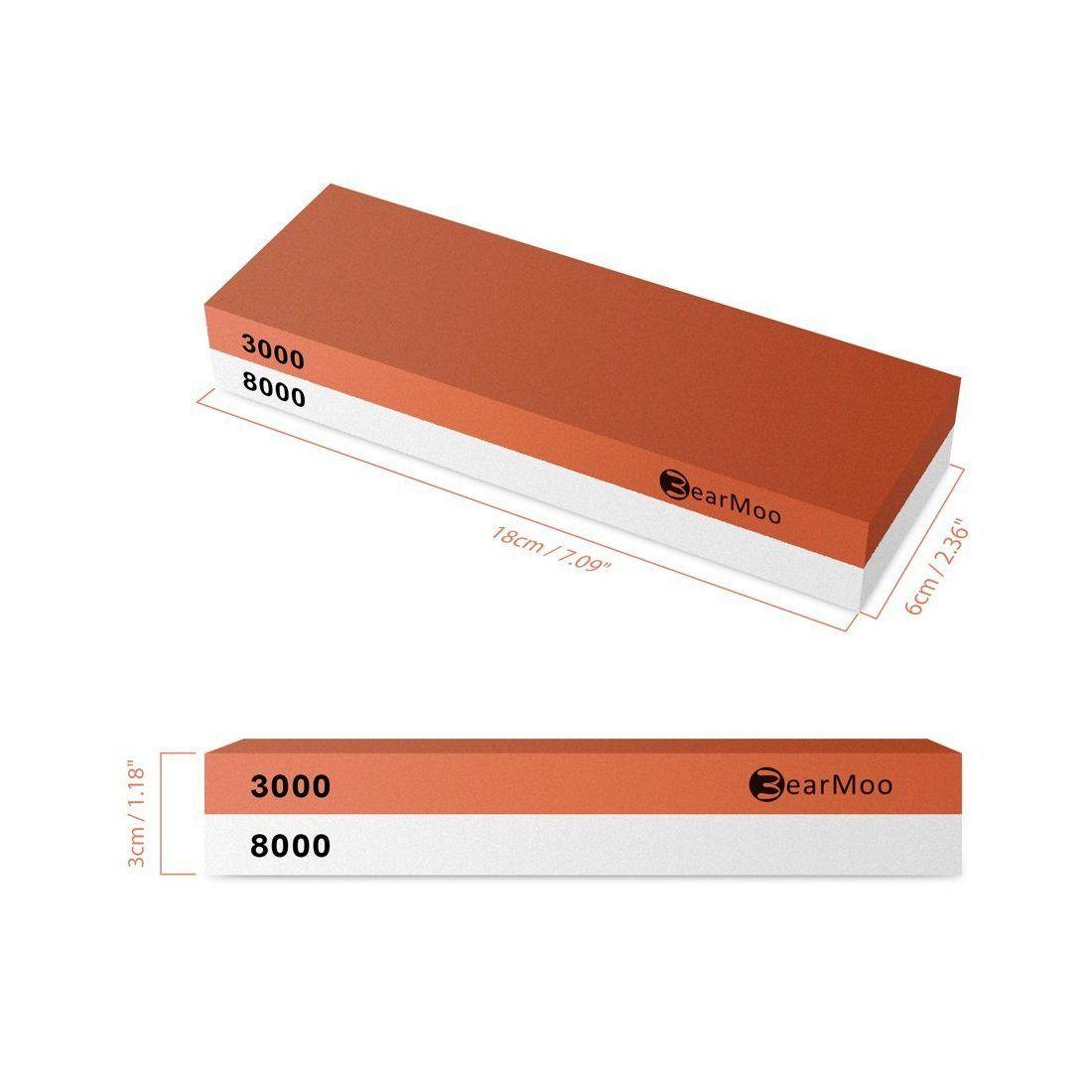 Pierre à aiguiser, BearMoo 2 en 1 meule Pierre a aiguiser pour couteaux avec support antidérapant silicone, 3000/8000