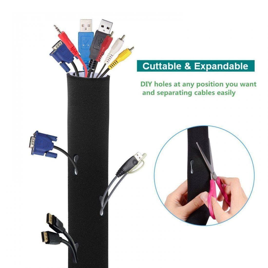 AGPtek Câble Rangement du Néoprène , cache-câble pour Ranger ou Cacher les câbles de Télé ou Ordinateur (149cm*13.4cm)