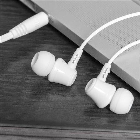 TOPLUS Écouteurs intra-auriculaire Anti-bruit ergonomique oreillette filaire stéréo avec Microphone intégré&multifonction com