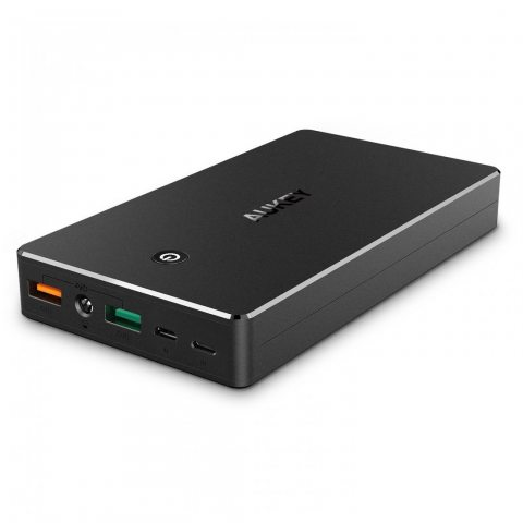 AUKEY Quick Charge 3.0 Batterie Externe 20000mAh, Power Bank avec 2 Entrée Lightning et Micro USB, pour iPhone X/ 8/ Plus/ 7/