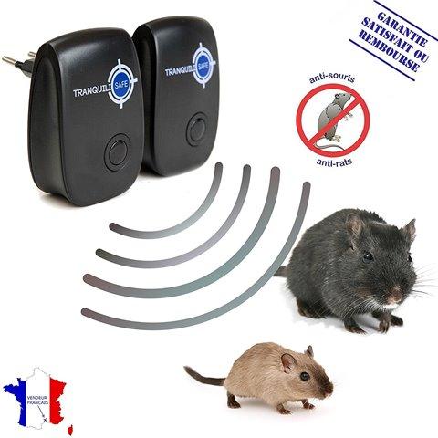 TRANQUILISAFE ® - Lot de 2 répulsifs ultrason rats et souris - répulsif anti rongeurs - solution anti nuisibles