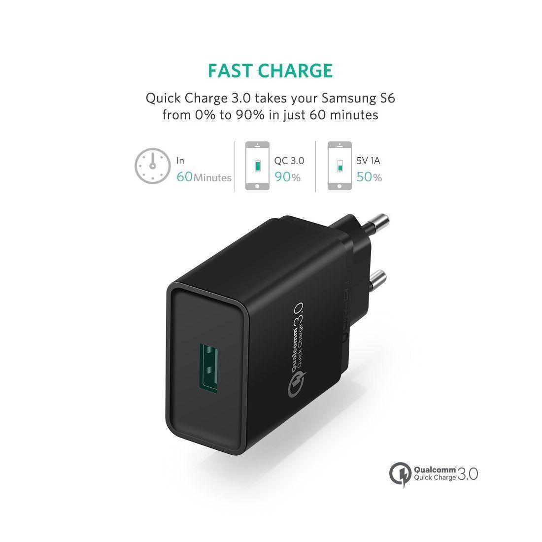 ugreen 18w quick charge 3 0 usb chargeur rapide secteur usb pour iphone x 8 plus samsung galaxy. Black Bedroom Furniture Sets. Home Design Ideas