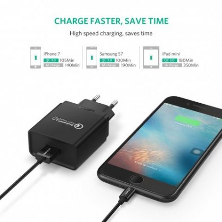 UGREEN 18W Quick Charge 3.0 USB Chargeur Rapide Secteur USB pour iPhone X 8 Plus, Samsung Galaxy S8 Plus S7 Edge Note 8, Huaw