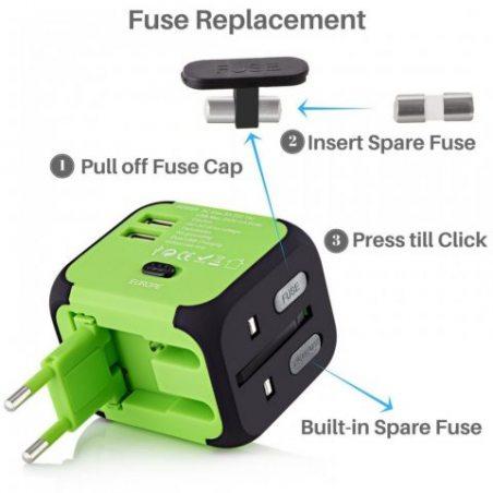 [Garantie à Vie] Voyage Adaptateur International avec Fusible de Sécurité et 2 USB (5V 2.4A) VGUARD Adapteur Chargeur USB Con