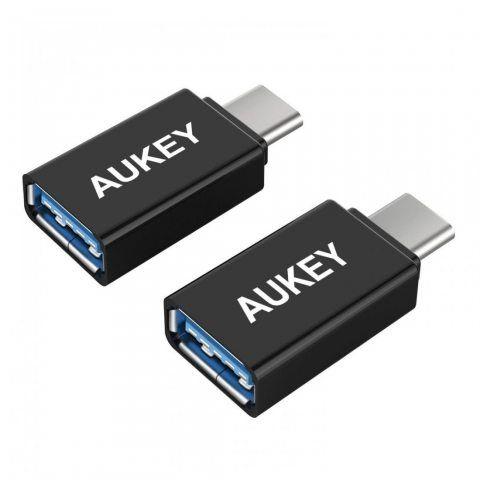 AUKEY Adaptateur USB C vers USB A 3.0 ( Lot de 2 ) avec OTG Connecteur USB Type C pour MacBook Pro 2017 / 2016 , Google Chrom