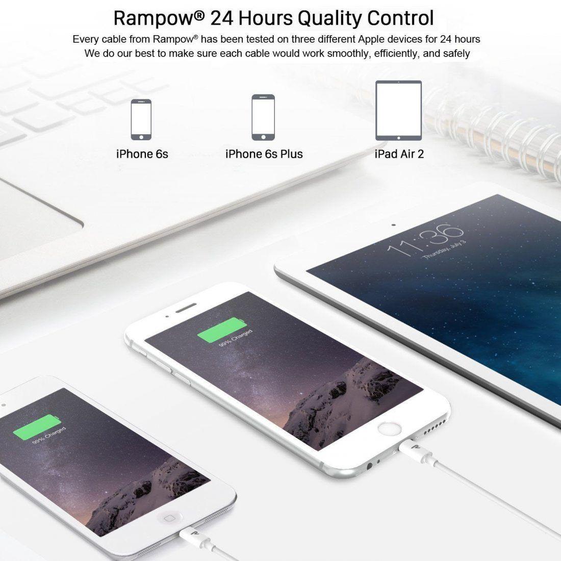 Câble iPhone Rampow® [MFI certifié Apple] - GARANTIE À VIE - Câble Lightning vers USB pour iPhone 8 / 8 Plus / 7 / 7 Plus / 6