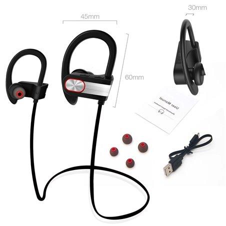 Iyowin Casque de Sport Bluetooth 4.1, Stéréo écouteurs Intra-auriculaires Sans Fil, Oreillette avec Suppression de Bruit/ Mai