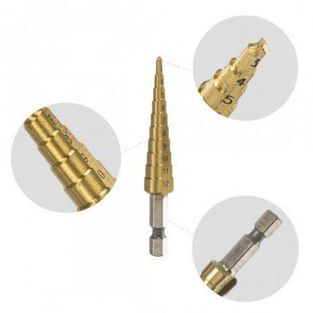 AUSERO Forets étagés Foret Fraise HSS etage Conique Titane 1/4 Hexagone Tige Pour Percage Visseuse 3-12mm