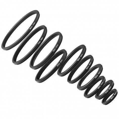 Neewer® Kit Bague d'Adaptation 10 Pièces Anodisé Métal Noir Step-down Comprenant Bagues de Taille 82-77mm, 77-72mm, 72-67mm,