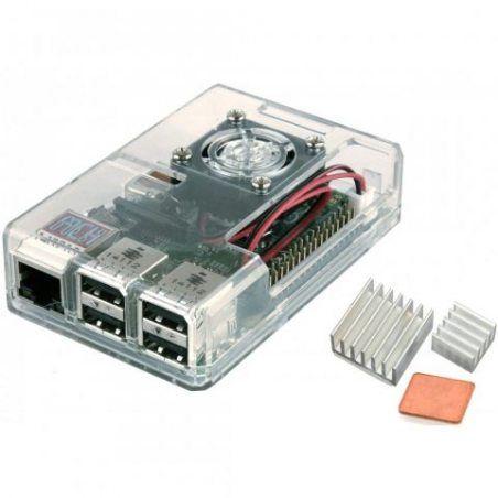 EleBOX Boitier transparent avec RADIATEUR & VENTILATEUR pour Raspberry Pi 3, RPi 2 case with HEATSINK & FAN … (transparent)