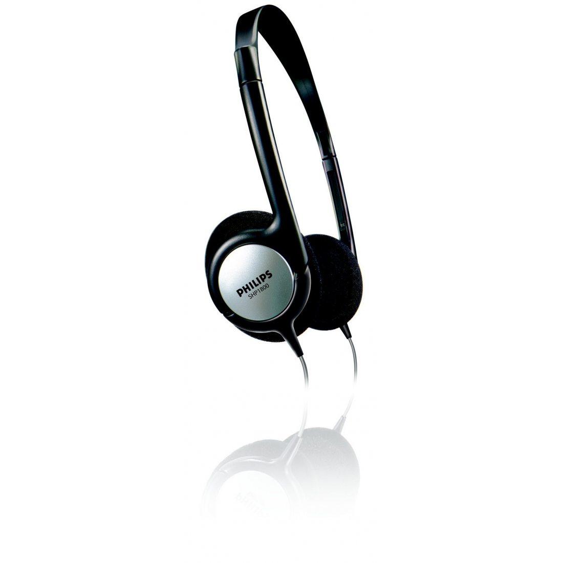 Philips SHP1800 Casque TV filaire, câble 6m, confortable et Commandes volume intégrées, Noir