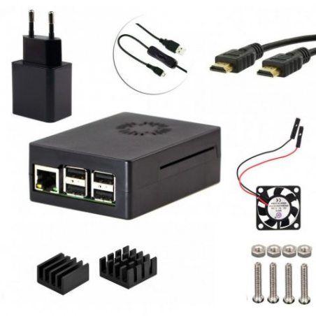 5 en 1 Kit pour Raspberry Pi 3 modèle B, 5V 2.5A Chargeur Adaptateur Alimentation Câble marche/arrêt cas noir HDMI vers HDMI