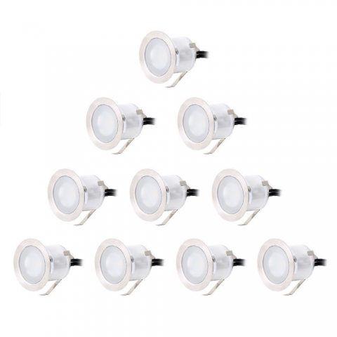 CroLED® 10x Lampe de Spot A LED pour Terrasse Enterre - En Aluminium 0.6W IP67 DC12V Blanc Etanche Avec Alimentation EU - Déc