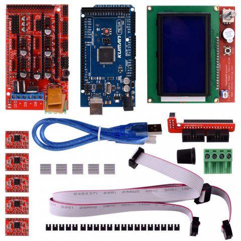 Kits d'imprimantes 3D Controller RAMPS 1.4 + Mega 2560 R3 + 5 pièces pilote A4988 moteur pas à pas avec dissipateur + LCD 128