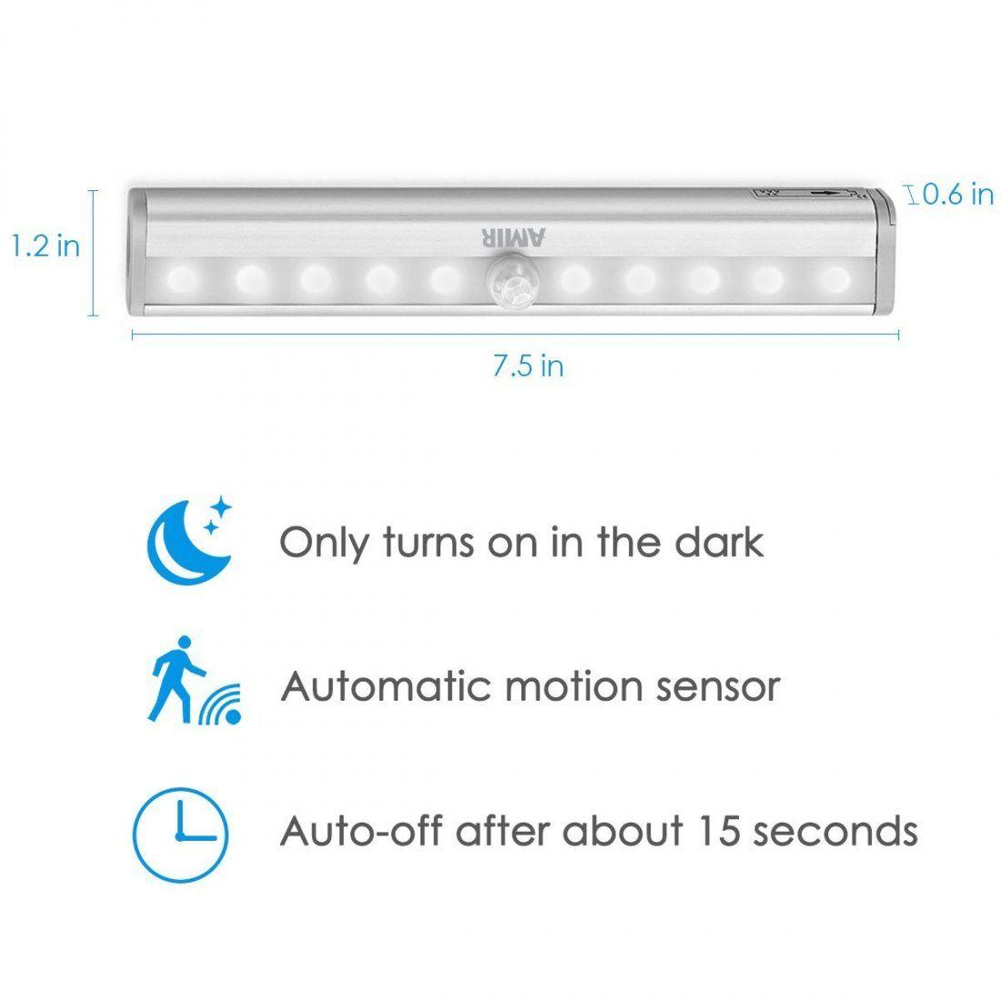 [3 Pack] AMIR 10LED Lampe Détecteur de Mouvement USB Rechargeable Veilleuse LED, Lampe de Placard Lampe Escalier Lumière d'ar