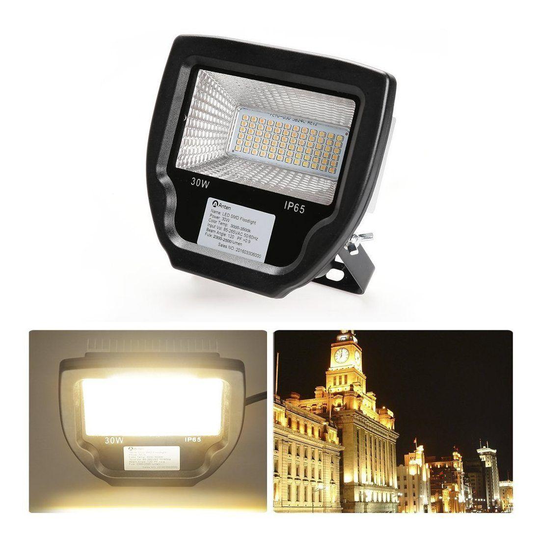 Anten® Haute Qualité 30W 2400Lumen LED SMD Projecteur Éclairage Extérieur et Intérieur 72P 2835SMD Blanc Chaud 2800-3200K IP6